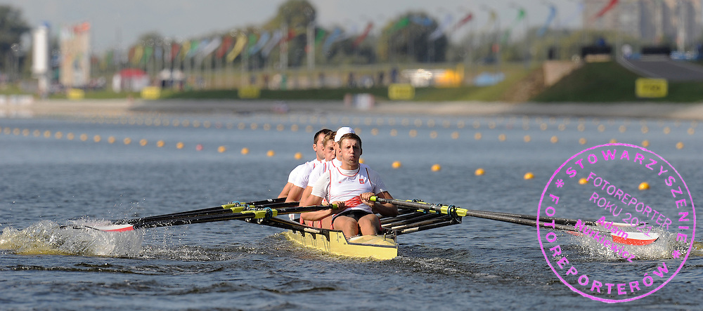(BOW) ARNOLD SOBCZAK AND (2L) PIOTR LICZNERSKI AND (3L) MICHAL SLOMA AND (STROKE) WIKTOR CHABEL (ALL POLAND) COMPETE IN THE MEN'S QUADRUPLE SCULLS RACE DURING REGATTA EUROPEAN ROWING CHAMPIONSHIPS IN BREST, BELARUS...BREST , BELARUS , SEPTEMBER 18, 2009..( PHOTO BY ADAM NURKIEWICZ / MEDIASPORT )..PICTURE ALSO AVAIBLE IN RAW OR TIFF FORMAT ON SPECIAL REQUEST.