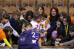 Fans of ACH players with Sebastijan Skorc at 8th final volleyball match of CEV Indesit Champions League Men 2008/2009 between ACH Volley Bled (SLO) and Zenit Kazan (RUS), on February 12, 2009 in Hall Tivoli, Ljubljana, Slovenia. (Photo by Vid Ponikvar / Sportida)