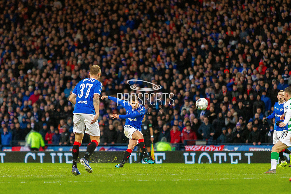 Ryan Jack of Rangers FC with a shot on target during the Betfred Scottish League Cup Final match between Rangers and Celtic at Hampden Park, Glasgow, United Kingdom on 8 December 2019.