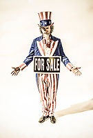 Uncle Sam character with a For Sale sign around his neck.  Concept of government influence / corruption.