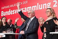 11 FEB 2017, BERLIN/GERMANY:<br /> Frank-Walter Steinmeier, SPD, Kandidat fuer das Amt des Bundespraesidenten, hinter ihm seine Ehefrau Elke Büdenbender, Anke Rehlinger, SPD Saarland, (v.L.n.R.), waehrend einem Empfang der SPD anl. der Bundesversammlung, Westhafen Event und Convention Center<br />  IMAGE: 20170211-03-047