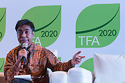 """Herry Purnomo, Scientist at the Center for International Forestry Research (CIFOR), speaks during a knowledge exchange session on the topic """"Assessing and addressing forest fire propagation in Indonesia: The root causes, impact and solutions"""", at the General Assembly of the Tropical Forest Alliance 2020 in Jakarta, Indonesia, on March 11, 2016. <br /> (Photo: Rodrigo Ordonez)"""