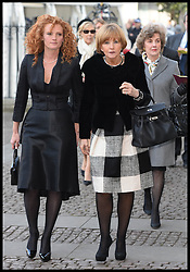 Anne Robinson (r) arrives at Westminster Abbey for the service to celebrate the life and work of Sir David Frost, Westminster Abbey, London, United Kingdom. Thursday, 13th March 2014. Picture by Andrew Parsons / i-Images
