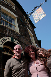 UK ENGLAND LEWES 20APR07 - Mick Hawksworth, his wife Sarah Bayliss and Valmai Goodyear (L-R) celebrate their victory at the Lewes Arms, a local pub owned by Norfolk brewery Greene King. Local residents today won an unusual victory by forcing the pub's owners to reintroduce Harvey's Bitter beer, a local beer brand that was withdrawn from sale four months ago. The Lewes Arms, a lively pivot point for community life, became the target of a determined campaign by locals who organised a boycott and picket lines to get their favourite beer reinstated by Greene King...jre/Photo by Jiri Rezac..© Jiri Rezac 2007..Contact: +44 (0) 7050 110 417.Mobile:  +44 (0) 7801 337 683.Office:  +44 (0) 20 8968 9635..Email:   jiri@jirirezac.com.Web:    www.jirirezac.com..© All images Jiri Rezac 2007 - All rights reserved.