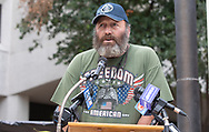 Capt. Joseph Brown, BP oil spill cleanup worker at a rally held on the 8 year anniversary of the BP OIl Spill in front of the federal court house in New Orleans calling for justice for the BP OIl Spill clean-up workers who still