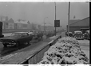 Snow holds up traffic In Dublin.<br />