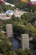 Aerial view of the from the Cliff Dwellers Club of Cloud Gate and Crown Fountain sculptures Millennium Park in Chicago USA