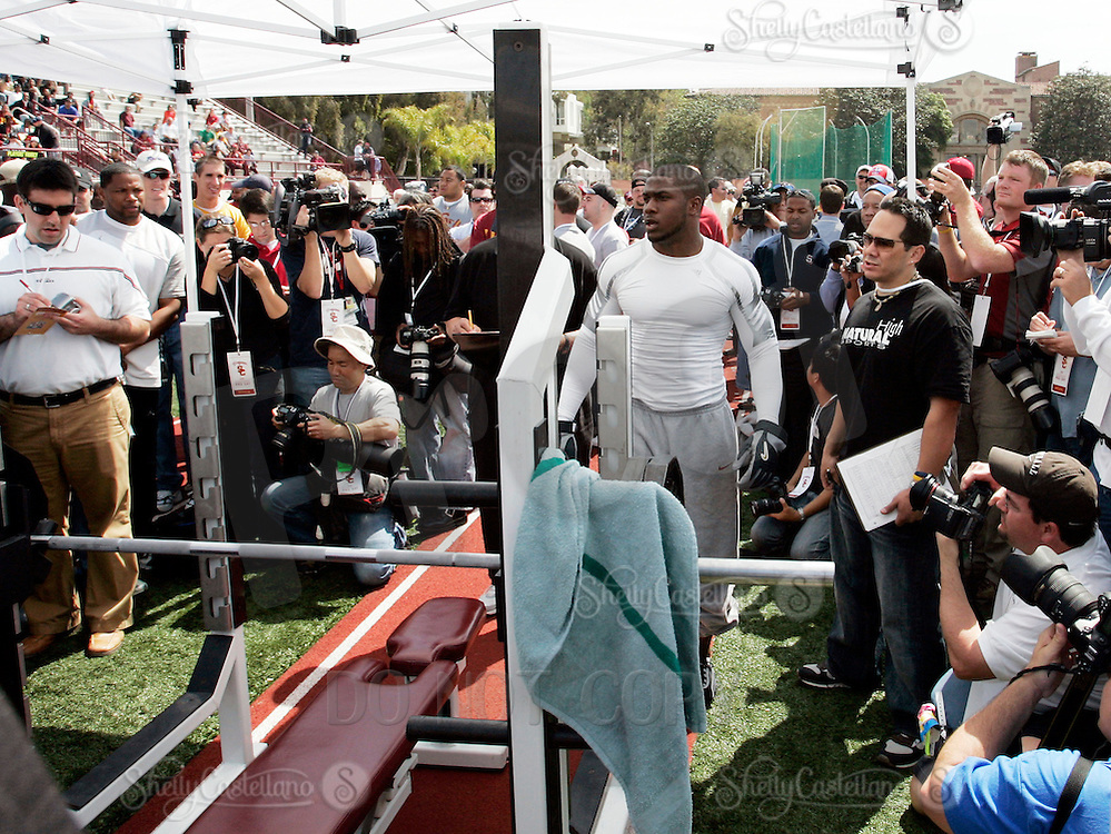 2 April 2006: Reggie Bush lifted 24 bench presses at NFL pro-timing day at USC college campus in Los Angeles, CA.