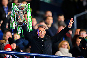 Celtic manager Brendan Rogers lifts the Betfred Cup following Celtic's 1-0 victory during the Betfred Cup Final between Celtic and Aberdeen at Celtic Park, Glasgow, Scotland on 2 December 2018.
