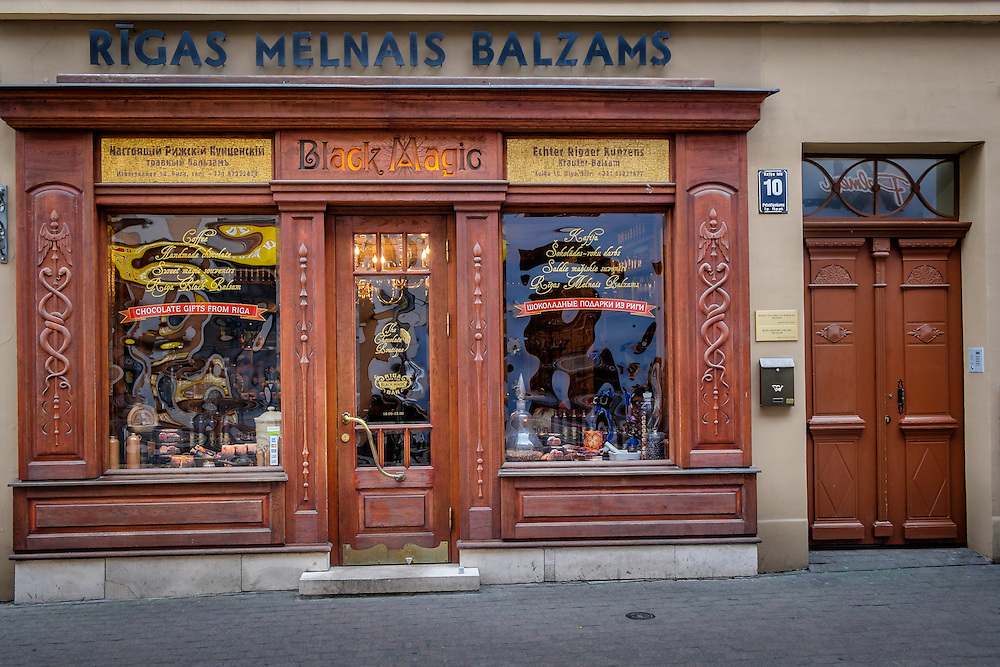 RIGA, LATVIA - CIRCA MAY 2014: Facade view of the famous Black Magic Riga bar in Old Town