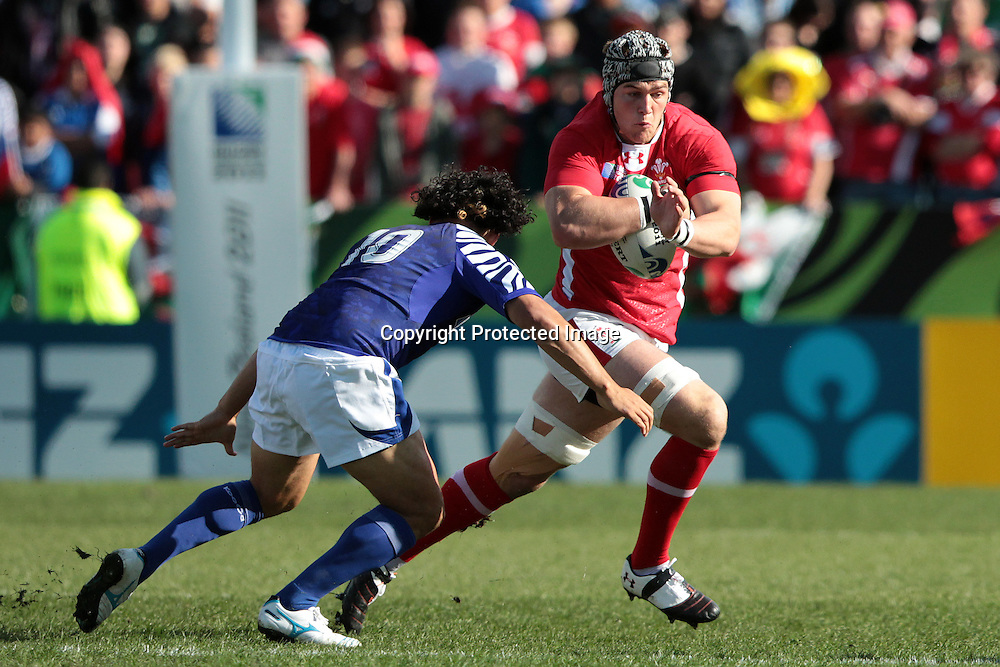Danny Lydiate during the Wales v Samoa Pool D match of the 2011 IRB Rugby World Cup. Waikato Stadium, Hamilton, New Zealand. Sunday 18 September 2011. Photo: Ella Brockelsby/ Photosport.co.nz