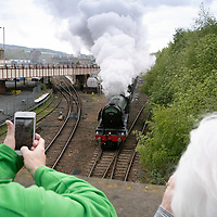 The Flying Scotsman pictured as she leaves Perth railway station on the Steam Dreams' Highlands & Islands Explorer tour of Scotland….10.05.19<br />