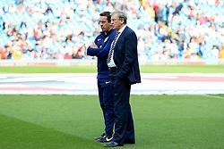 England Manager Roy Hodgson talks with coach Gary Neville - Mandatory byline: Matt McNulty/JMP - 07966386802 - 22/05/2016 - FOOTBALL - Etihad Stadium -Manchester,England - England v Turkey - International Friendly