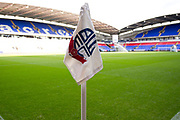 Bolton Wanderers corner flag. EFL Sky Bet League 1 match between Bolton Wanderers and Rochdale at the University of  Bolton Stadium, Bolton, England on 19 October 2019.