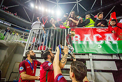 Team Portugal with fans during medal ceremony after the Final match of UEFA Futsal EURO 2018, on February 10, 2018 in Arena Stozice, Ljubljana, Slovenia. Photo by Ziga Zupan / Sportida