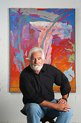 Herb Jackson, an internationally known artist, lives and works in Davidson, NC. Jackson is known for his paintings, 'Veronica's Veils', as seen here in Veronica's Veil CLV. L.MUELLER/The Charlotte Observer