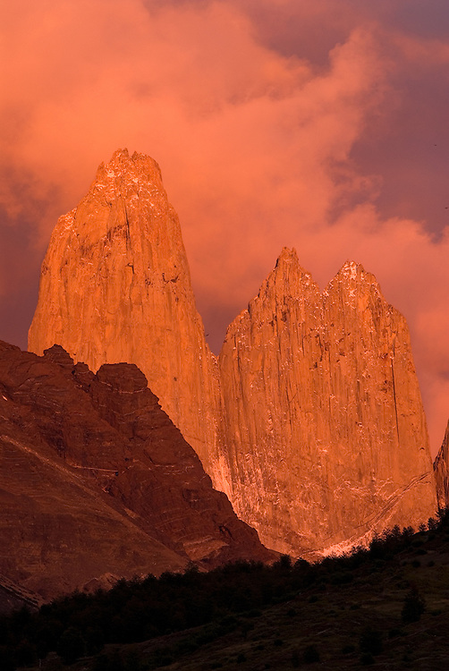 Morning light on the Torres Del Paine, Torres Del Paine National Park, Patagonia, Chile.