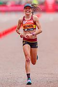 Tish Jones (Great Britain) approaching the finish line in the Women's Elite race, during the Virgin Money 2019 London Marathon, London, United Kingdom on 28 April 2019.
