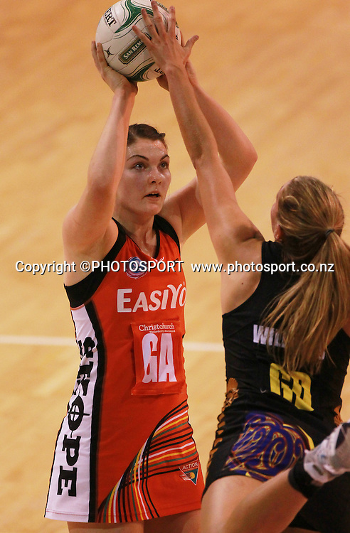 Ellen Halpenny takes a shot at goal for the Tactix with Casey Williams in defence for WBOP. Canterbury Tactix vs Waikato BOP Magic in Round 8 of the ANZ Championship at CBS Canterbury Arena, Christchurch, New Zealand. Sunday 19 May 2012. Joseph Johnson/PHOTOSPORT.