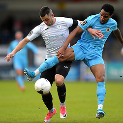 TELFORD COPYRIGHT MIKE SHERIDAN Aaron Williams of Telford battles for the ball with Demeaco Dvhaney of Boston during the Vanarama National League Conference North fixture between AFC Telford United and Boston on Saturday, November 2, 2019.<br /> <br /> Picture credit: Mike Sheridan/Ultrapress<br /> <br /> MS201920-028