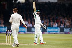 Pakistan's Azhar Ali celebrates reaching his 50 during day two of the First NatWest Test Series match at Lord's, London.