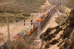 BNSF Railroad movement through Cajon Pass in San Bernardino County, California, USA