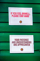 Signs of the Coronavirus. Cafe Endcliffe Park Sheffield third day emergency measures which were announced by Prime minister Boris Johnson on Monday evening (23rd march)<br />