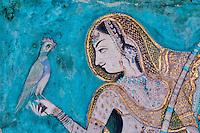 Inde, Rajasthan, Ville de Bundi, Le Palais, peinture murale, Chitra Shala, 18e-19e siecle, princesse à l'oiseau // India, Rajasthan, Bundi castle, wall painting, the Chitra Shala, 18-19 century, bird princess