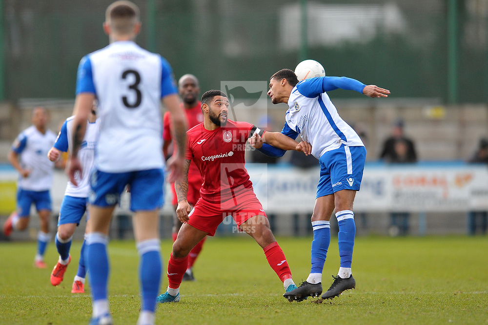 TELFORD COPYRIGHT MIKE SHERIDAN Ellis Deeney of Telford  during the Vanarama Conference North fixture between Guiseley and AFC Telford United at Nethermoor Park on Saturday, February 8, 2020.<br /> <br /> Picture credit: Mike Sheridan/Ultrapress<br /> <br /> MS201920-046