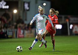 NEWPORT, WALES - Thursday, April 4, 2019: Czech Republic's Petra Bertholdová (L) and Wales' Kayleigh Green during an International Friendly match between Wales and Czech Republic at Rodney Parade. (Pic by David Rawcliffe/Propaganda)