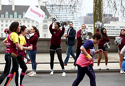 Cheerleaders shout encouragement to runners along The Embankment during the 2018 London Landmarks Half Marathon. PRESS ASSOCIATION Photo. Picture date: Sunday March 25, 2018. Photo credit should read: John Walton/PA Wire