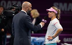February 13, 2019 - Doha, QATAR - Angelique Kerber of Germany celebrates winning her second-round match at the 2019 Qatar Total Open WTA Premier tennis tournament (Credit Image: © AFP7 via ZUMA Wire)