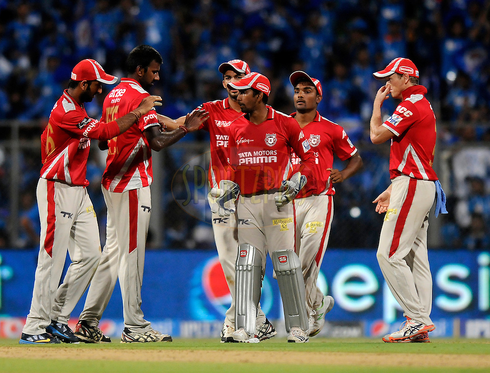 Lakshmipathy Balaji of the Kings X1 Punjab celebrates the wicket of Rohit Sharma captain of the Mumbai Indians  during match 22 of the Pepsi Indian Premier League Season 2014 between the Mumbai Indians and the Kings XI Punjab held at the Wankhede Cricket Stadium, Mumbai, India on the 3rd May  2014<br /> <br /> Photo by Pal Pillai / IPL / SPORTZPICS<br /> <br /> <br /> <br /> Image use subject to terms and conditions which can be found here:  http://sportzpics.photoshelter.com/gallery/Pepsi-IPL-Image-terms-and-conditions/G00004VW1IVJ.gB0/C0000TScjhBM6ikg
