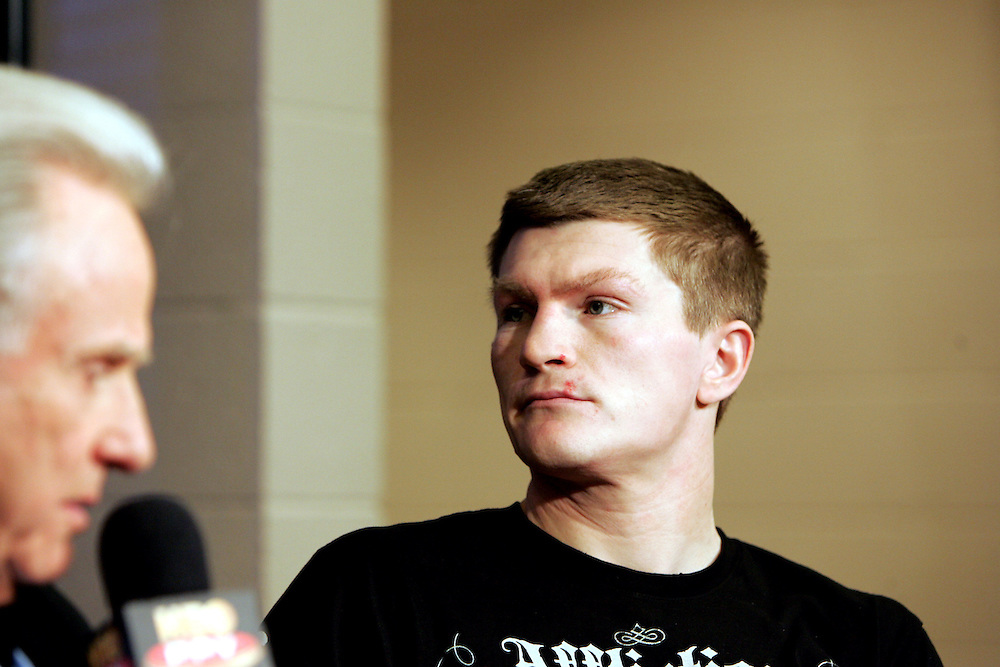 Ricky Hatton is interviewed before the fight by Larry Merchant of HBO. Ricky Hatton v Floyd Mayweather, Las Vegas, Nevada.