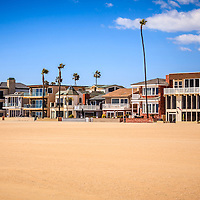 Photo of Newport Beach oceanfront luxury homes in Orange County California. Newport Beach is a wealthy beach city along the Pacific Ocean in Southern California.
