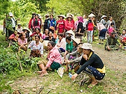 20 JUNE 2016 - DON KHONE, CHAMPASAK, LAOS:  Mourners gather for the cremation of a man from Don Khone village on Don Khone Island. Don Khone Island, one of the larger islands in the 4,000 Islands chain on the Mekong River in southern Laos. The island has become a backpacker hot spot, there are lots of guest houses and small restaurants on the north end of the island. In the southern Lao funeral tradition, the deceased is cremated at the place of his choosing, usually a place he (or she) was especially fond of. In this case, the man chose to be cremated in a small clearing in the jungle a few kilometers from his home.    PHOTO BY JACK KURTZ
