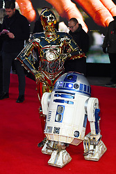 C-3PO (left) and R2-D2 attending the european premiere of Star Wars: The Last Jedi held at The Royal Albert Hall, London. Photo credit should read: Doug Peters/EMPICS Entertainment