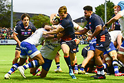 Chris Dean breaks through to score try for Edinburgh during the Rugby Friendly match between Edinburgh Rugby and Bath Rugby at Meggetland Sports Compex, Edinburgh, Scotland on 17 August 2018.