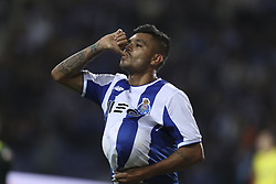 October 21, 2017 - Porto, Porto, Portugal - Porto's Mexican forward Jesus Corona celebrates after scoring goal during the Premier League 2017/18 match between FC Porto and FC Pacos de Ferreira, at Dragao Stadium in Porto on October 21, 2017. (Credit Image: © Dpi/NurPhoto via ZUMA Press)