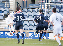Raith Rovers John Baird scoring their first goal.<br /> Half time : Raith Rovers 2 v 1 Falkirk, Scottish Championship game today at Starks Park.<br /> &copy; Michael Schofield.