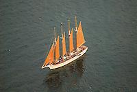 Aerial view of Schooner outside of Bar Harbor Maine Aerial view of Nautical Vessel Aerial view of Nautical Vessel Aerial view of Nautical Vessel Aerial view of Nautical Vessel