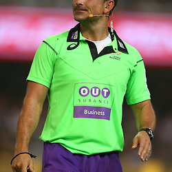 DURBAN, SOUTH AFRICA - MARCH 26: Referee Jaco Peyper during the Super Rugby match between Cell C Sharks and BNZ Crusaders at Growthpoint Kings Park on March 26, 2016 in Durban, South Africa. (Photo by Steve Haag)<br /> <br /> images for social media must have consent from Steve Haag