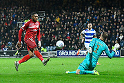 Goal - Britt Assombalonga (9) of Middlesbrough scores the equalising goal to make the score 2-2 during the EFL Sky Bet Championship match between Queens Park Rangers and Middlesbrough at the Kiyan Prince Foundation Stadium, London, England on 9 November 2019.