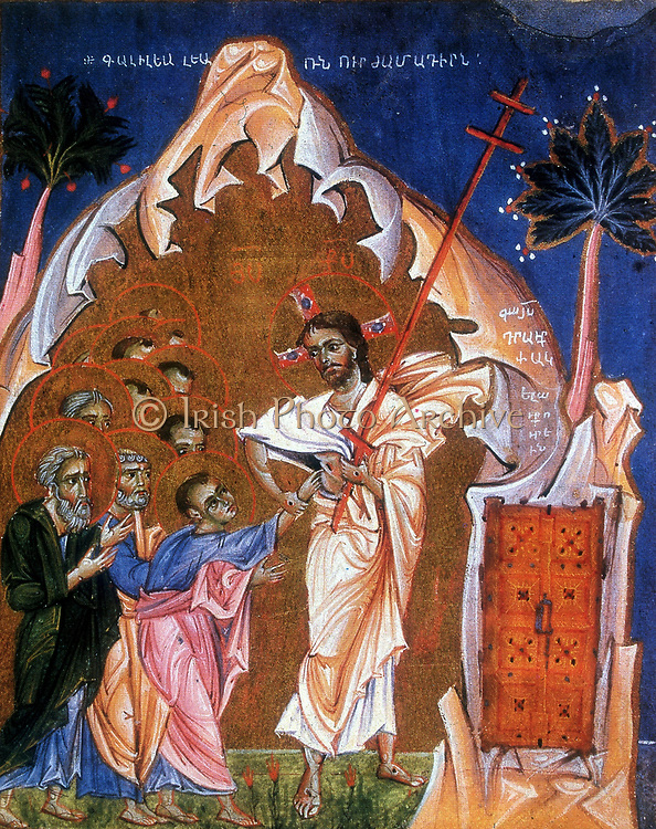 Doubting Thomas. The Disciple Thomas putting his hand into the lance wound in the side of the risen Jesus to make sure that the Saviour was real.  After Armenian Evangelistery  (Gospels) c1268. Painter and calligrapher Toros Rosline