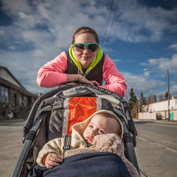 "Jake Tuker and Amanda Celia with their son, Noah, on E Street and 13 Avenue, Anchorage.  ""Our dream is to open a restaurant in up-state New York.  Jake will run the businss and I will cook.""  jacob.tucker09@gmail.com"