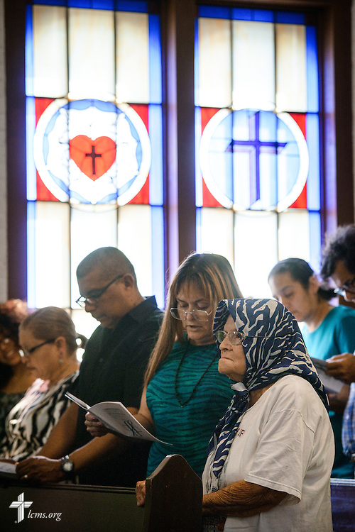 Parishioners and guests sing during the installation service for the Rev. Dr. Antonio Lopez, new national missionary pastor at El Calvario Lutheran Church on Sunday, July 31, 2016, at the parish in Brownsville, Texas. LCMS Communications/Erik M. Lunsford
