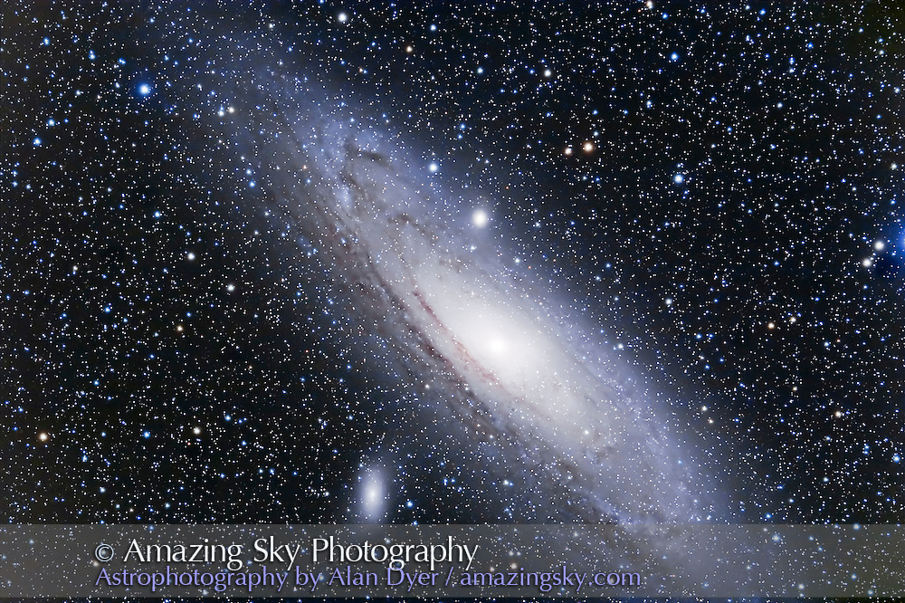 M31 Andromeda Galaxy, with TMB 92mm apo refractor and Borg 0.85x reducer/flattener for f/4.8 and Canon 20Da camera at ISO400 for 2 x 15 minute exposures. North is at bottom, south at top (better balance with this framing)