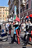 Roma, 5 Giugno  2015<br /> Trasferimento della Bandiera di Guerra dell'Arma dei Carabinieri, dalla caserma della scuola allievi carabinieri, di via Carlo Alberto Dalla Chiesa al museo storico dei Carabinieri in piazza Risorgimento, per  le  celebrazioni per i 201 anni dell'Arma dei Carabinieri.<br /> Rome, June 5, 2015<br /> Transfer of War Flag of the Carabinieri, the barracks of the carabinieri training school, in Via Carlo Alberto Dalla Chiesa at the historical museum of the Carabinieri in Piazza Risorgimento, during  celebrations for the 201 years of the Carabinieri.