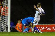 Mark Tyler of Luton Town (left) is beaten to the ball as Danny Rose of Bury scores the opening goal during the Sky Bet League 2 match at Kenilworth Road, Luton<br /> Picture by David Horn/Focus Images Ltd +44 7545 970036<br /> 19/08/2014
