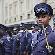 A South African Police Service (SAPS) Officer ahead of the ceremonial march, which preceeds the delivery of the State Of the Province Address (SOPA),on  Monday 23 February 2015, Johannesburg, South Africa. © Miora Rajaonary